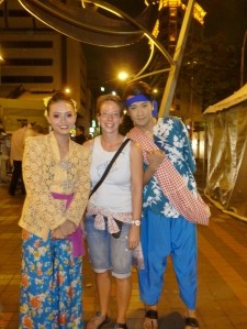 Posing with the Malaysian dancers