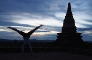 Silhouettes in the sunset on Pya Tha Da